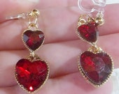 Invisible Clip On VALENTINE Earrings , 1.25 quot Drop Dangle, Red Heart Rhinestones, Gold or Silver Tone, Non-Pierced or Pierced