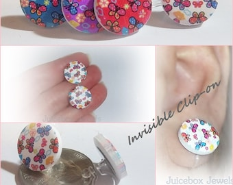 Invisible Illusion 15 mm Lucky Butterflies Clip On Resin Stud Non-Pierced Earrings,Hypoallergenic, 1 Pair  Y345