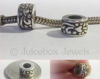 pkg of 2 Sterling Silver Bali Ornate Floral Diamond Beads 15 x 8 mm Oxidized