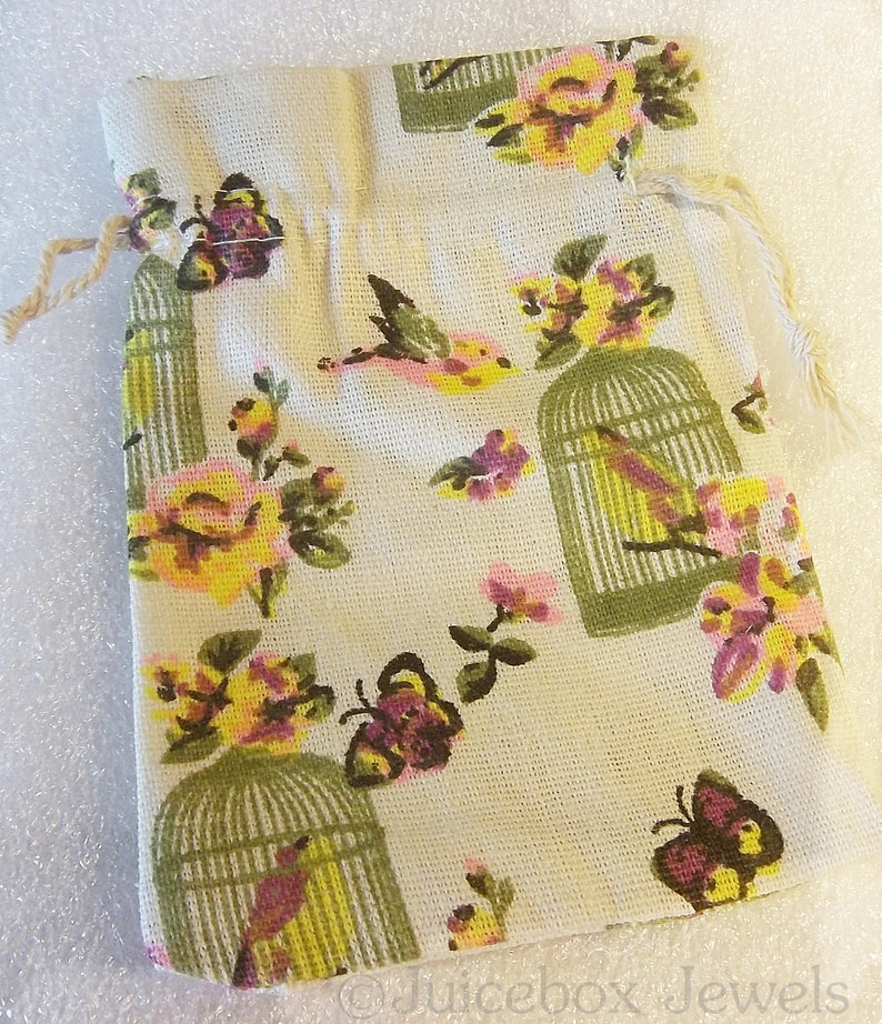 5 Pieces Printed Burlap Cotton Drawstring Bags,Wedding,Gift Bag,Pouch,Linen,Sack,Small,Floral Favor Bags