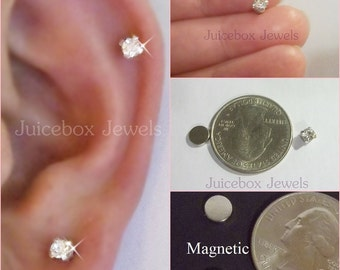 MAGNETIC 4 mm Clear Faceted Glass Crystal Rhinestone Stud Fake Non-Pierced Earrings 1 Pair #148