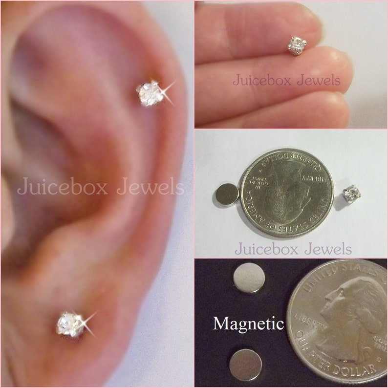 MAGNETIC 4 mm Clear Faceted Glass Crystal Rhinestone Stud Fake image 0