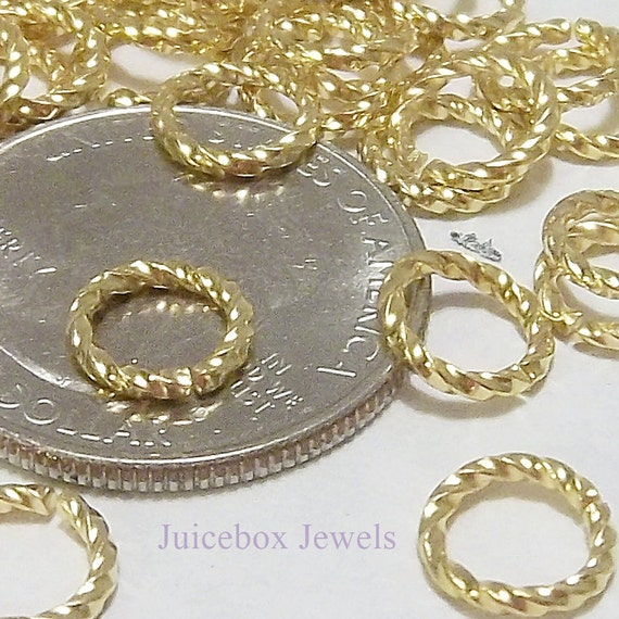 100 Gold Plated Brass Fancy Twisted 8mm Round 16 Gauge Jump Rings