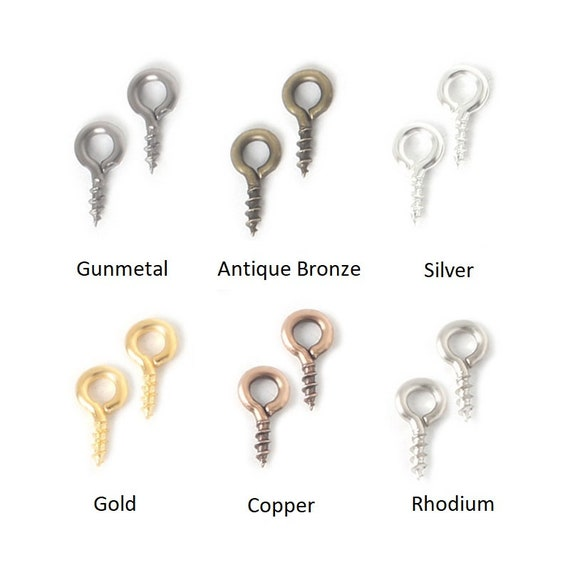 200 Silver Plated Screw Eye Pendant Bails Pins 8x4mm Jewellery Making US