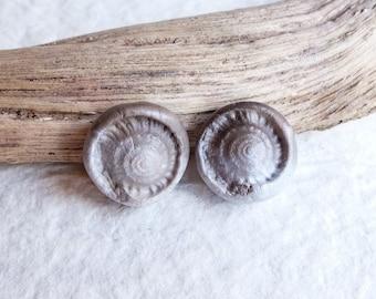 small smoked fired ceramic beads, ammonite imprint, handmade