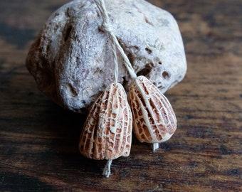 ceramic beads, ceramic pods, beads pair of seed pods, orange beige little bells, handmade