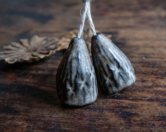 ceramic beads, ceramic pods, beads pair of seed pods, little bells, handmade