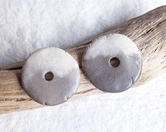 Ceramic beads; pair of discs; primitive beads; artisan beads; rustic beads; pair ceramic beads; wabi sabi beads