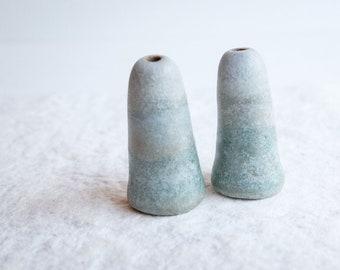 ceramic pair of beads, landscape beads, small ceramic cones, handmade with love!