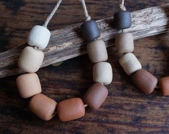 One set of ceramic beads, artisan beads, handmade