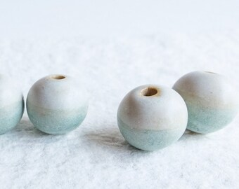 Set of 1 pair of beads, glazed ceramic beads, pairs of blue green beads, sea landscape beads, handmade with love