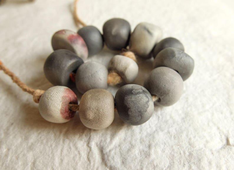 13 ceramic beads; handmade; artisan beads;rustic beads; primitive earthy; craft beads