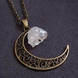 Crescent Moon Necklace Lapis Lazuli Moon Necklace Rose Gold LUNA Pendant Natural Stone Polished Necklace Gift
