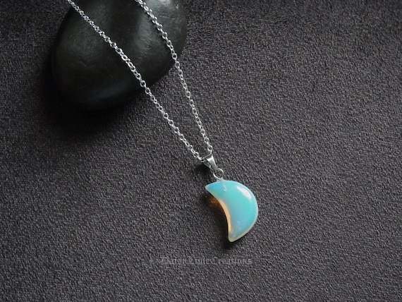 DaisyLime Ladies Women Moon Stone Opal Necklace 925 Silver Plated Wire Wrapped