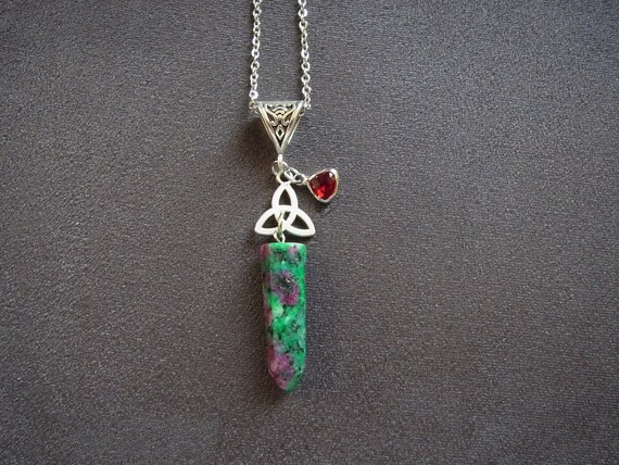 Ruby Zoisite Stone Choker Necklace Chakra Reiki Healing Point Chain Necklace