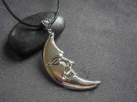 Crescent Moon Necklace Grey Onyx Moon Luna Pendant Silver Chain Necklace Gift boxed