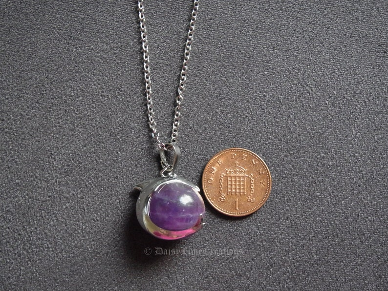 Dolphin Pendant Necklace Amethyst Healing Chakra Healing Necklace Bohemian Jewellery Meditation Necklace Gift
