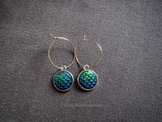 Daisylime Ladies Turquoise Stone Heart Earrings Silver Plated Hoop Earrings