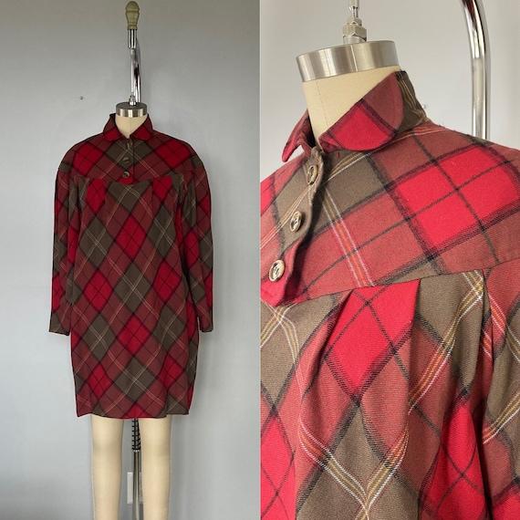 Albert Nipon Vintage Plaid Wool Dress