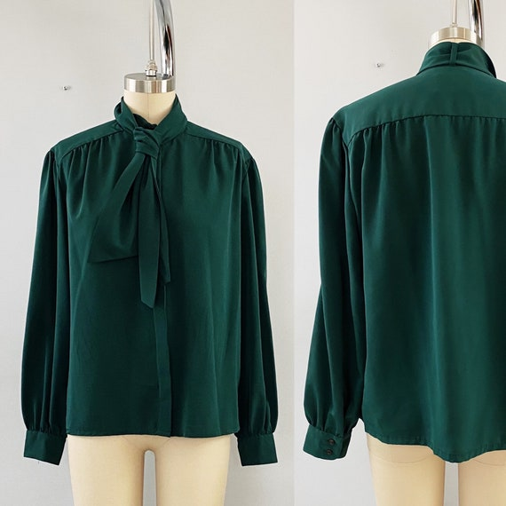 Vintage Pendleton Forest Green Bow-Front Blouse