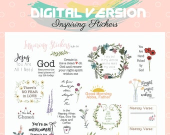 Floral Faith Word Phrase Stickers Scrapbooking Papercrafting