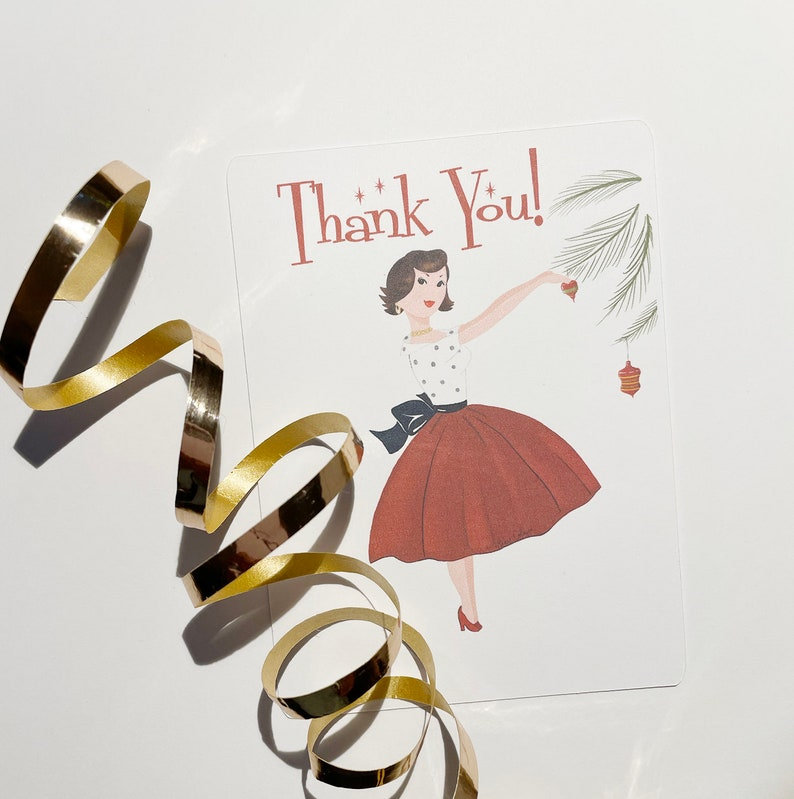 Ten Christmas Retro Style Thank You Note Cards