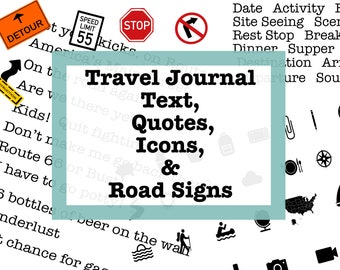 Travel Journal Text, Quotes, Icons and Road Signs to Go With My Route 66 Digital Stickers PT. 2