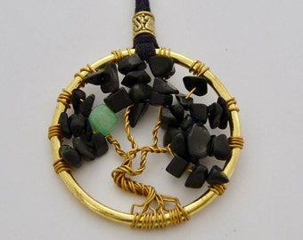 Tree of Life Necklace with Quartz Stone, 2 in Pendant