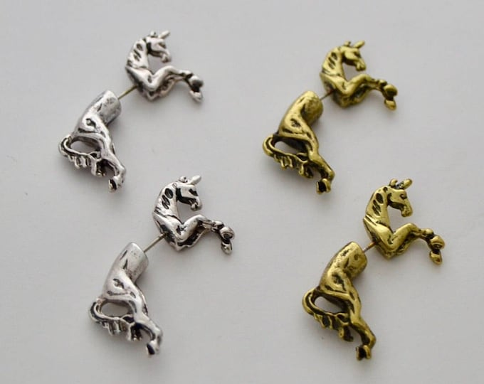 Unicorn Earrings in Silver or Antique Brass, Unicorn Jewelry, Unicorn Jewelry