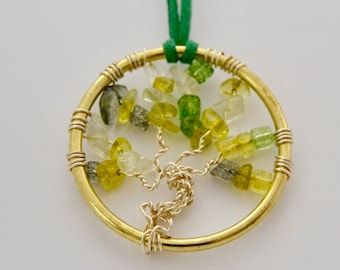 Tree of Life Necklace with Green Glass Stones, 2 in Pendant
