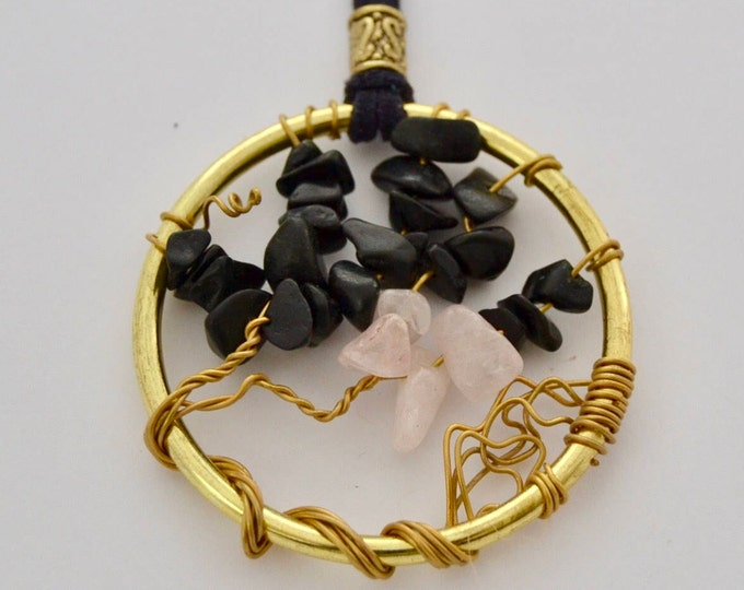 Tree of Life Necklace with Black and White Quartz Stones, 2 in Pendant