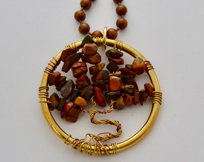 Tree of Life Necklace with Tigers Eye Spiritual Stones, 2 in Pendant