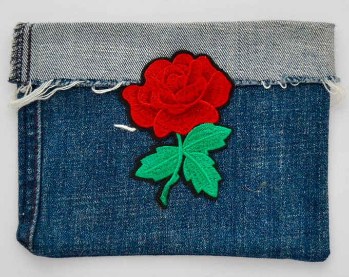 Recycled Jean Pouch, Coin Purse, Pencil Case, Cell Phone Case Cell Phone Holder, Gift for Her,Rose Patch, Lips Patch