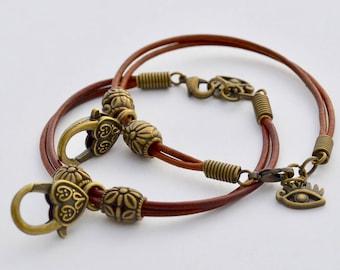 Egyptian Eye Leather Beaded Bracelets with Lobster Claw, Leather Bracelets,Gift for him, Gift for her, Beaded Bracelet, Gift Ideas for xmas