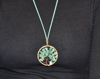 Tree of Life Bodhi Necklace with Aventurine Healing Stones, 2 in Pendant