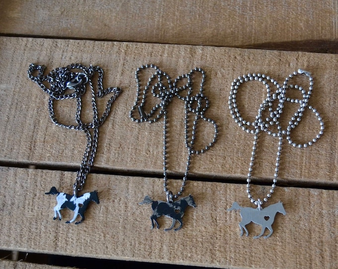 ON SALE!!!!!  Tiny Running Horse Pendant Necklace for Boys