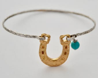Lucky Horseshoe Stamped Metal Bracelet -  Horseshoe Gift Ideas - Equestrian Gift - Bridesmaid Gift - Good Luck Bracelet