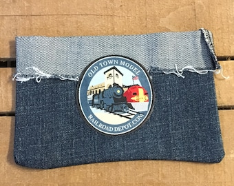 Train Patch Recycled Jean Pouch/ Phone Case