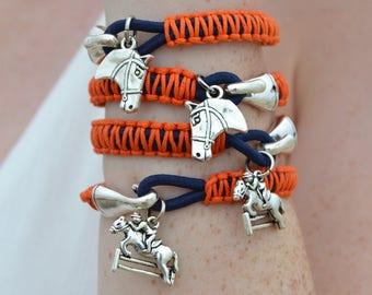 Silver Equestrian Horse Hook Bracelet - Men or Women Jewelry Gift -