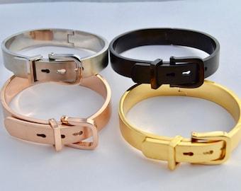 Rose Gold, Gold, Silver and Black  Belt Buckle Bracelets -5mm, 7mm, 9mm, 12mm - Gift for Him - Gift for her