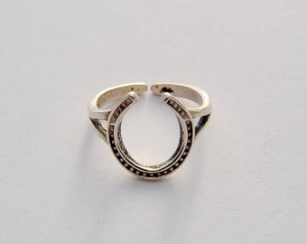Antique Silver Horseshoe ring, Sterling Silver, Adjustable Ring, Horseshoe Ring