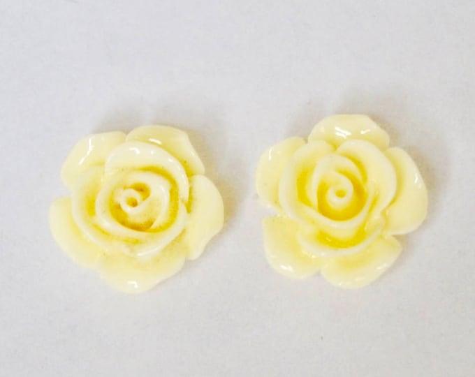 Dainty Flower Rose Ivory Stud Earrings, Stud Earrings, Flower Earrings