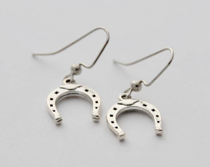 HorseShoe Pendant Earrings, Earrings, Equestrian Earrings, Gift for her,  Horse Lover Gifts, Horseshoe jewelry, Horseshoe, Equestrian Gift