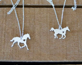 Trotting and Running Horse Pendant Silver Plated Equestrian Necklace