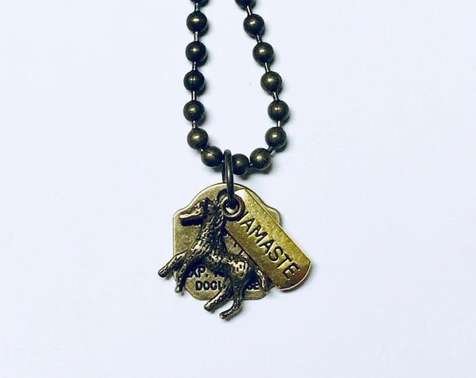 Mens Brass Antique Horse Namaste Pendant Necklace