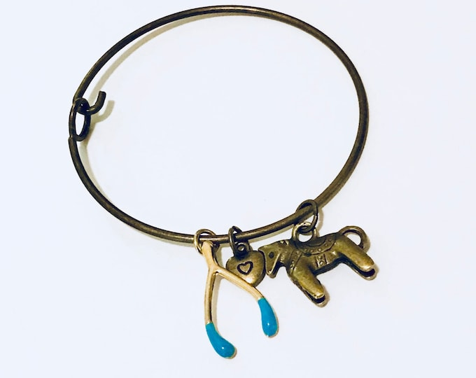 Trojan Horse Pendant Charm Bracelet with a gold piece of luck, gifts for her, equestrian gift