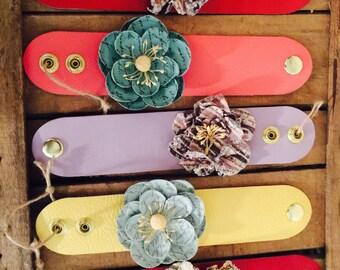 Leather Cuff Flower Bracelets