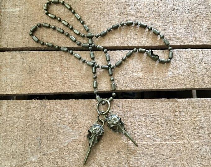 Double Headed Bird Skull Mens necklace