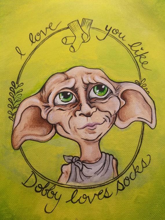Harry Potter Dobby The House Elf Fan Art Illustration Print In Etsy