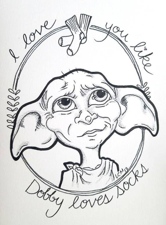 Harry Potter Fan Art Illustration Imprimer Dobby Lelfe Maison Etsy